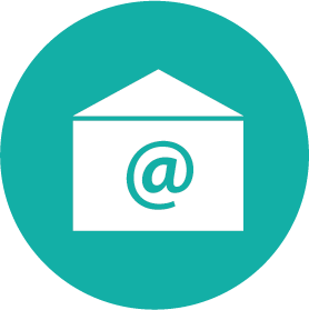 Round icon containting an Open envelope with the commercial at symbol