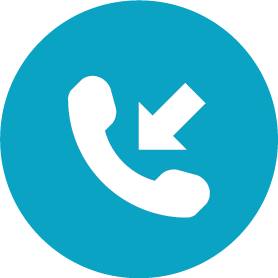 Round icon containting a phone handset with an arrow pointing at it