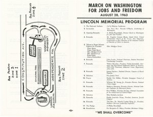 Front cover and map of program for March on Washington