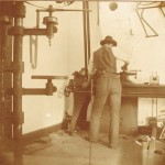Wilbur Wright at work in the bicycle shop