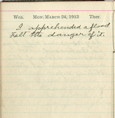Milton Wright diary entry, March 24, 1913