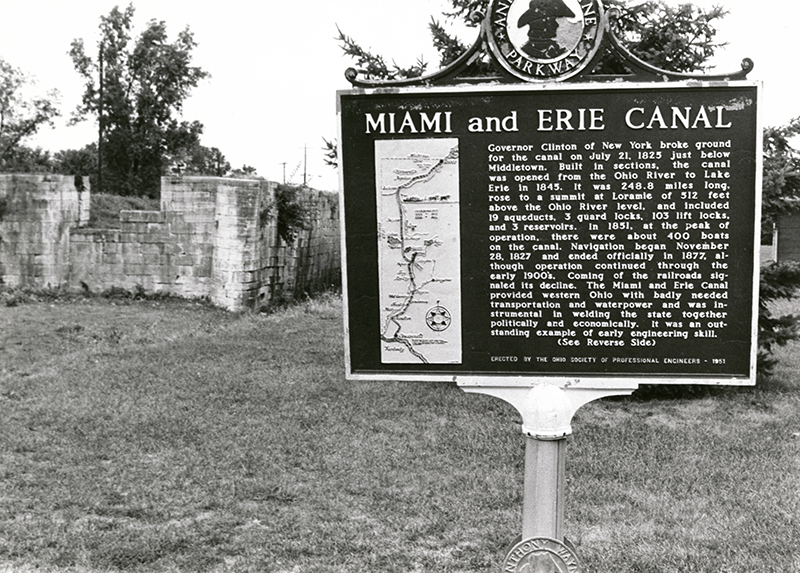 Miami-Erie Canal Lock and historical marker