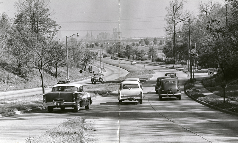 [Patterson Boulevard, formerly the Miami-Erie Canal, looking north to Dayton, 1962]