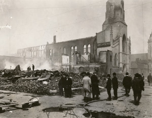 Fire damage at Park Presbyterian Church (from the Dayton Daily News Archive)