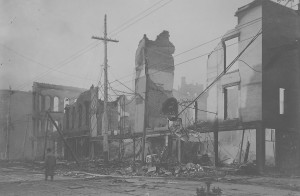 Fire damage on Third Street