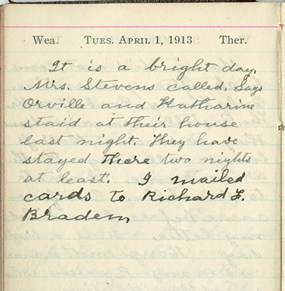 Milton Wright diary entry, April 1, 1913