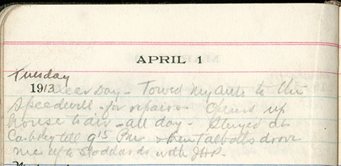 JGC Schenck diary entry, April 1, 1913