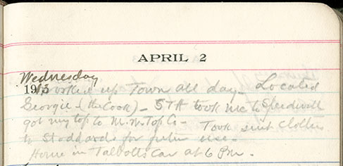JGC Schenck diary entry, April 2, 1913