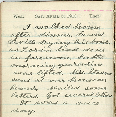 Milton Wright diary entry, April 5, 1913