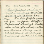 Milton Wright diary entry, April 7, 1913