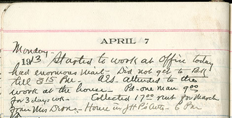 JGC Schenck diary entry, April 7, 1913