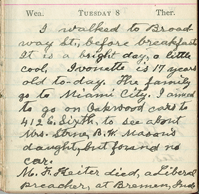 Milton Wright diary entry, April 8, 1913