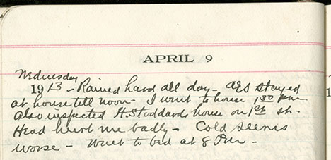 JGC Schenck diary entry, April 9, 1913