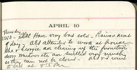 JGC Schenck diary entry, April 10, 1913