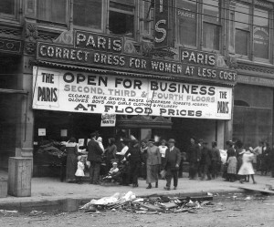 Stores like this one usually sold flood-damaged merchandise at a significant discount (cropped from ms128_3-4-3).