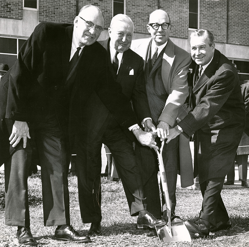 Dayton Campus (now WSU) Groundbreaking, May 31, 1963. Left-right: Novice Fawcett, S. C. Allyn, Robert S. Oelman, Gov. James A. Rhodes.