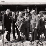 Dayton Campus (now WSU) Groundbreaking, May 31, 1963. Left-right: Novice G. Fawcett (Ohio State University), John D. Millett (Miami University), Stanley C. Allyn, Major Gen. T. A. Bennett, Robert S. Oelman. Far right: Frederick White. (University Archives)