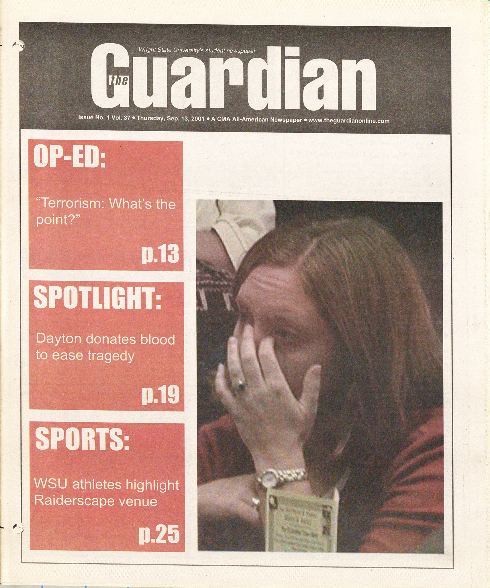 The Guardian, Sept. 13, 2001, page 1