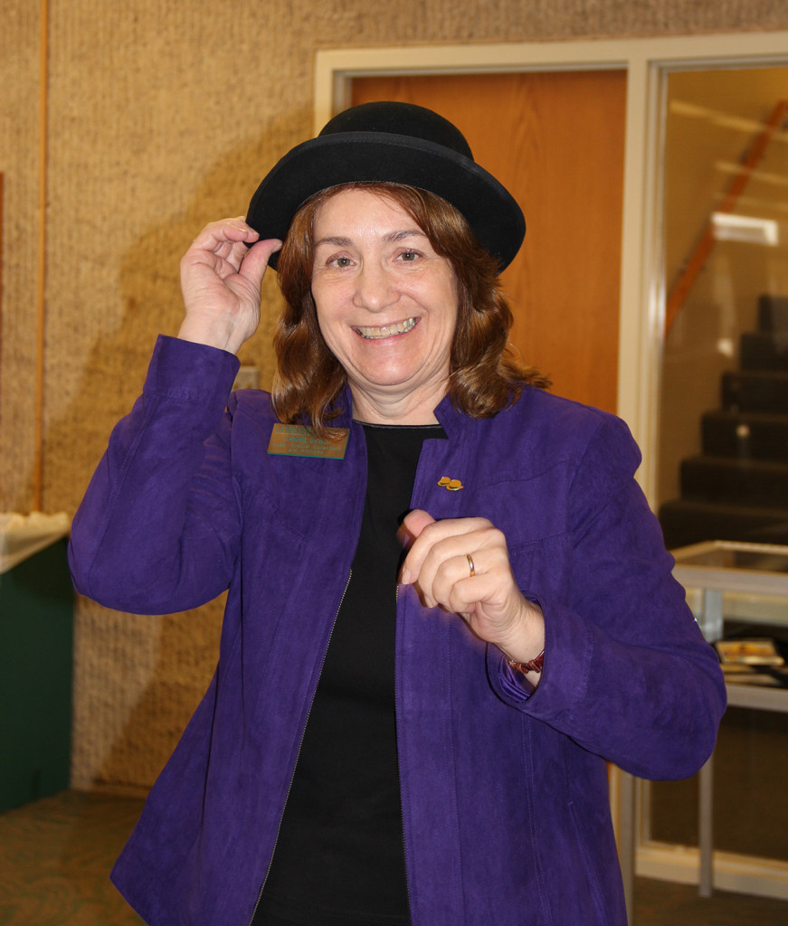 Dawne sporting a bowler hat and her new Tip of the Hat award pin, Nov. 18, 2013