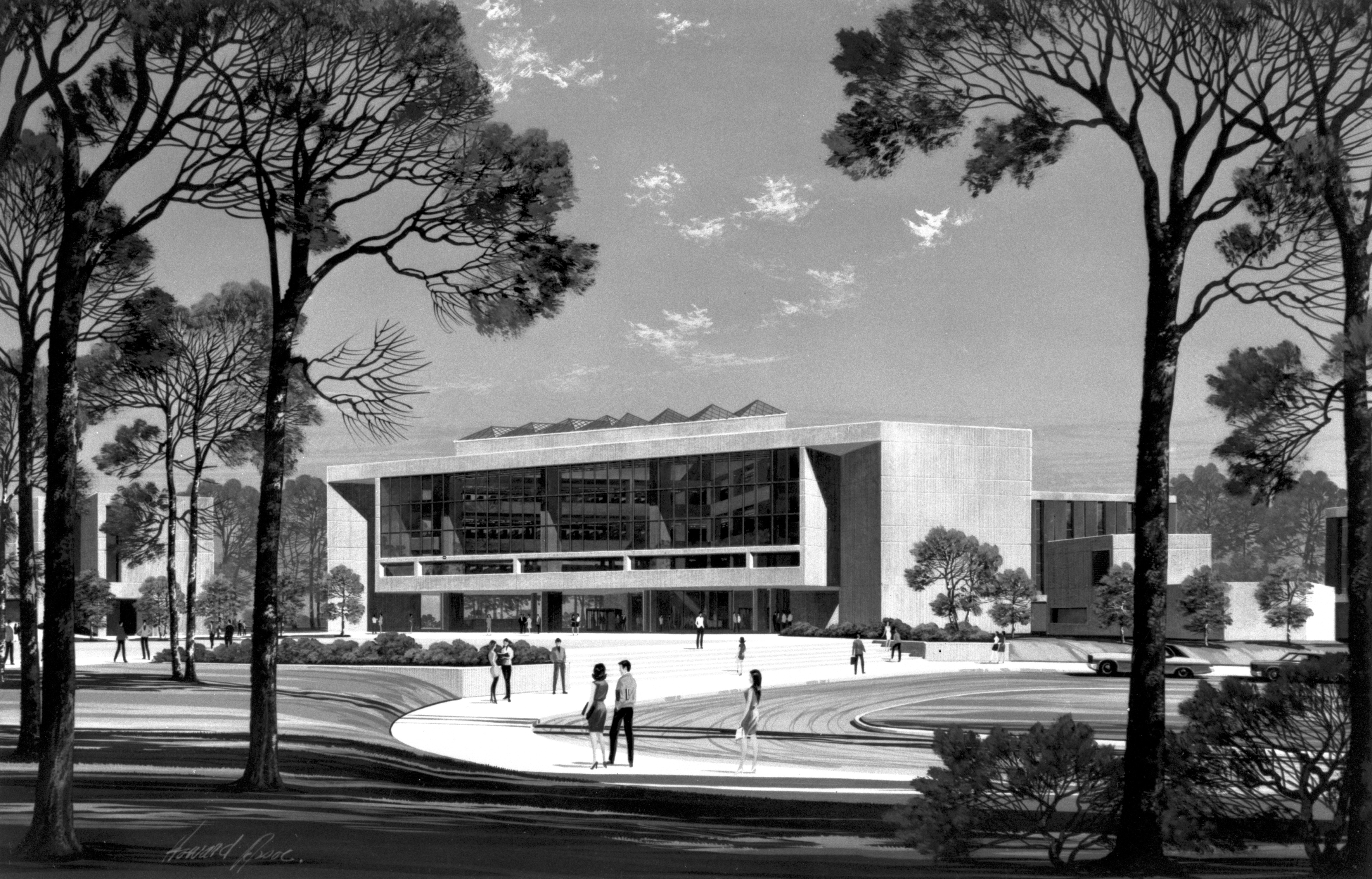 Artist's rendition of future University Library, 1970 (7012-07-1)
