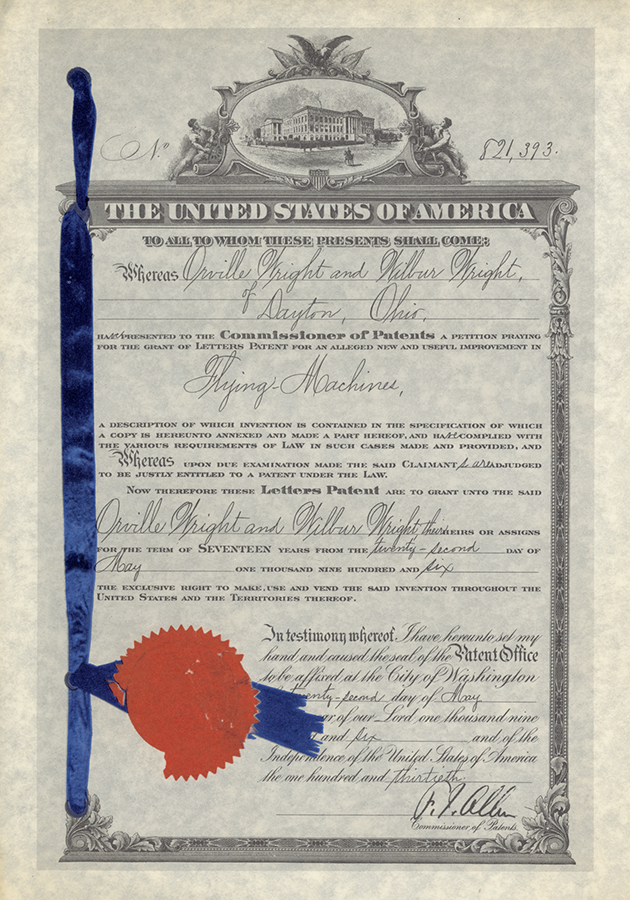 U.S. patent issued to the Wright Brothers for a Flying Machine, May 22, 1906