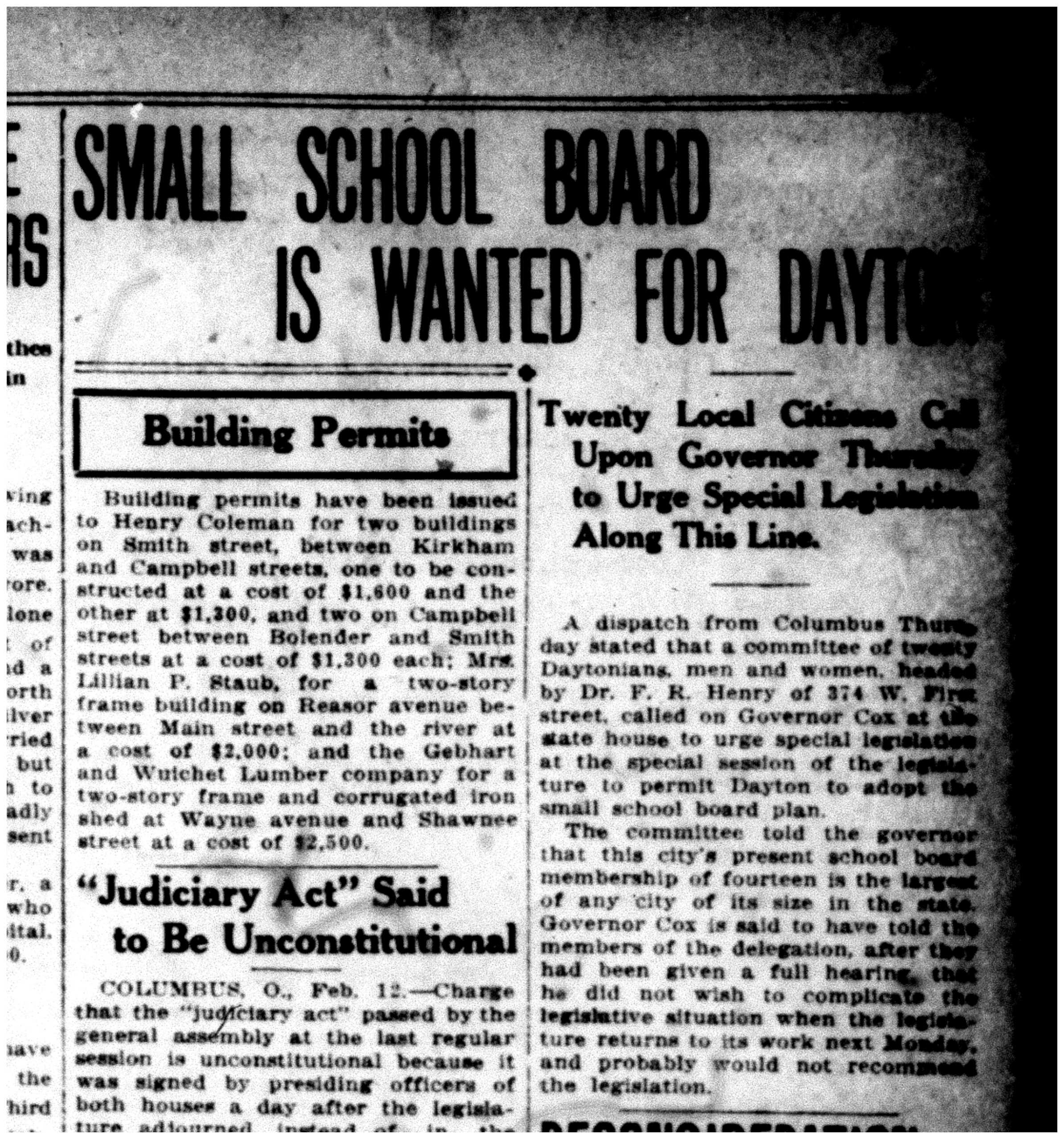 Small School Board is Wanted for Dayton, Dayton Daily News, Feb. 12, 1914