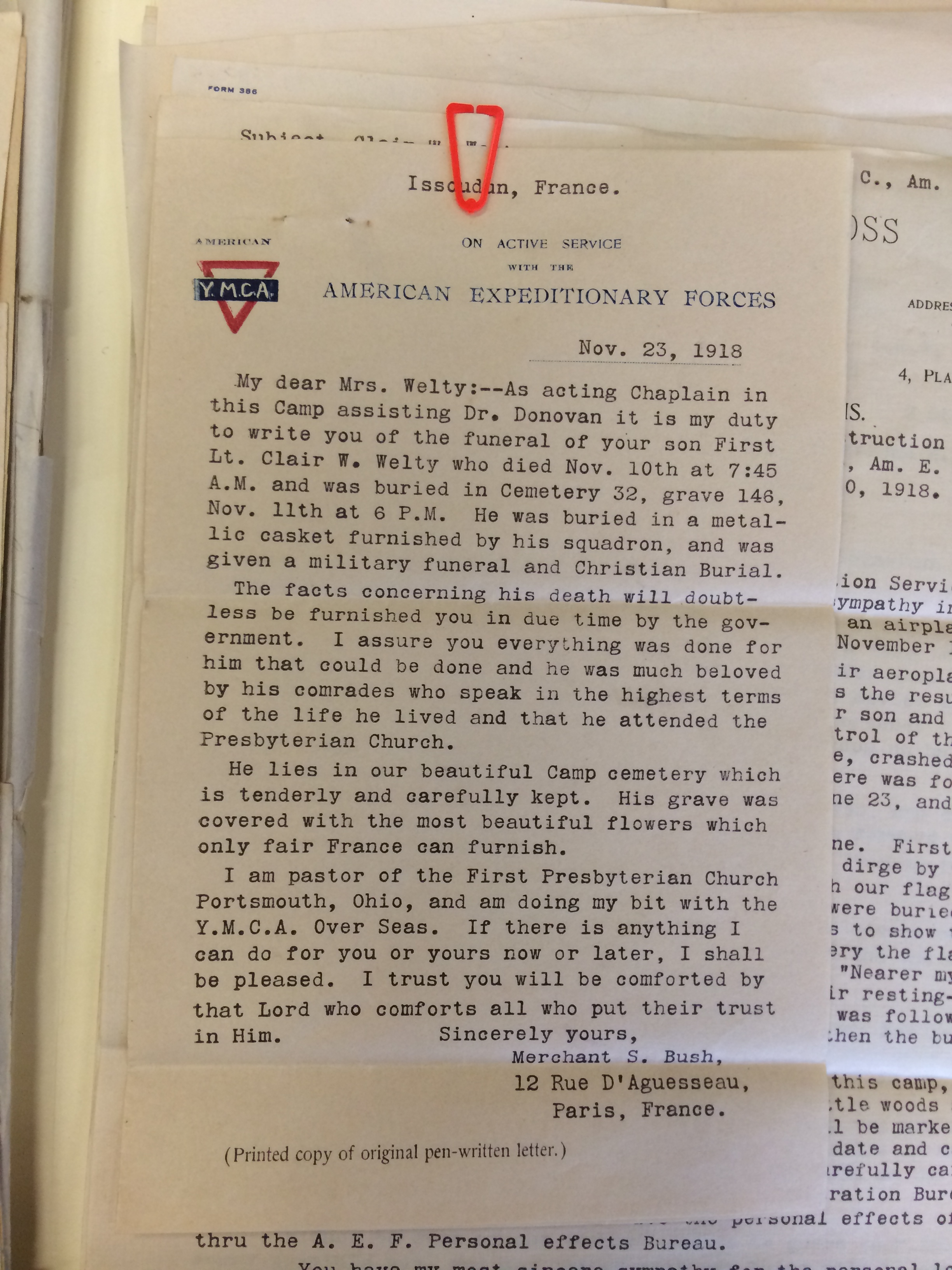 Letter from Rev. Merchant S. Bush to Mrs. A. J. Welty, 23 Nov. 1918 (from MS-196).