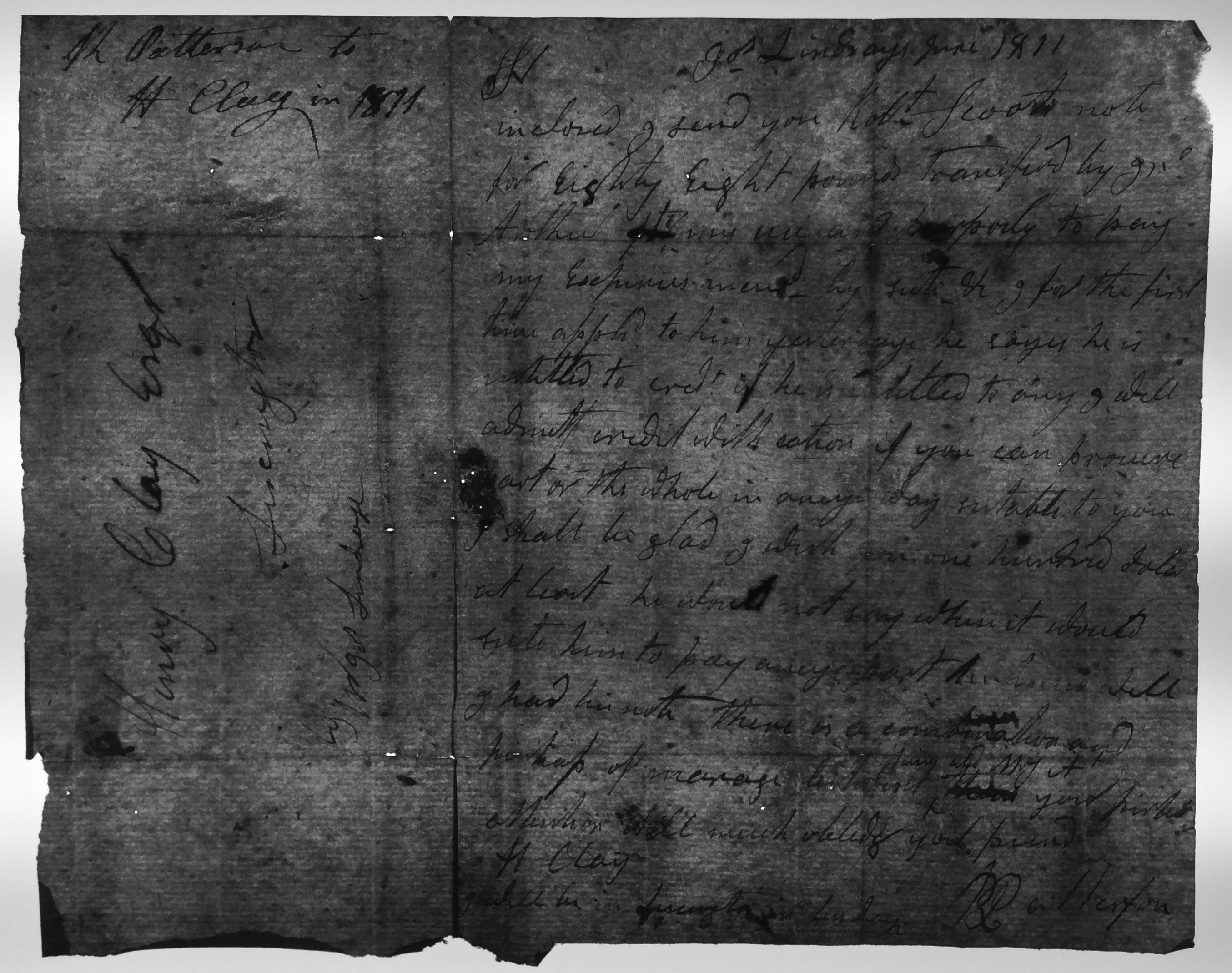 Col. Robert Patterson to Henry Clay, June 1811, showing chain lines (MS-236, Box 1, Folder 1)
