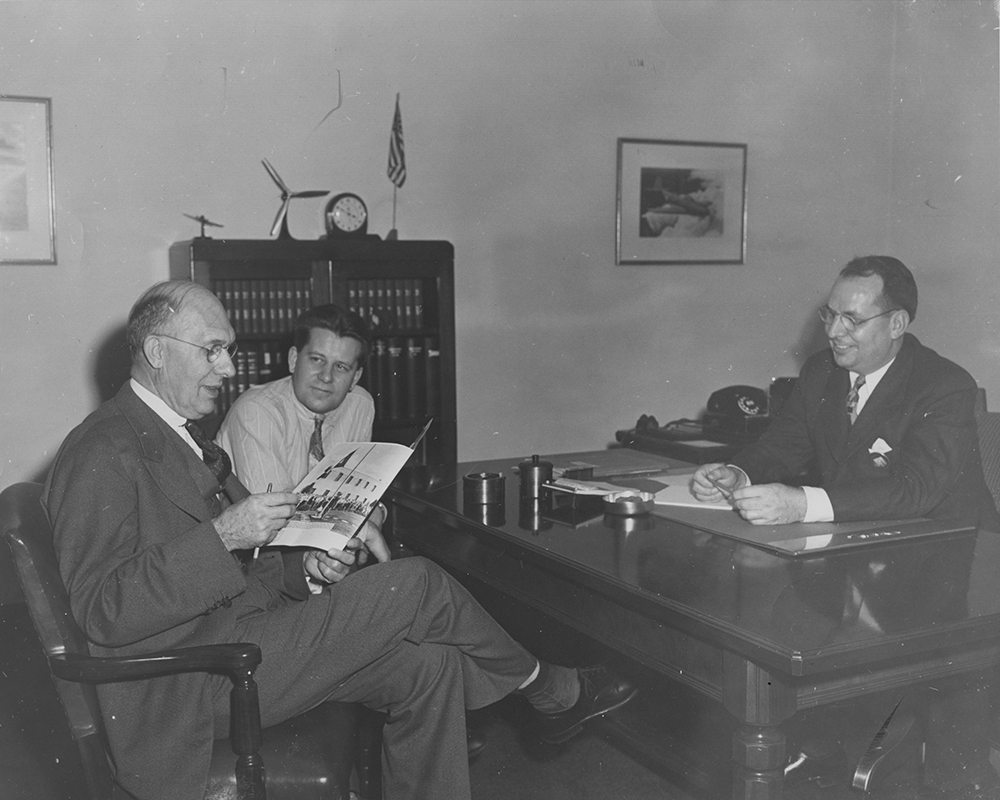 Charles F. Kettering (left), W. J. Blanchard (right), and an unidentified man, undated (MS-305, Box 3a, Folder 9)