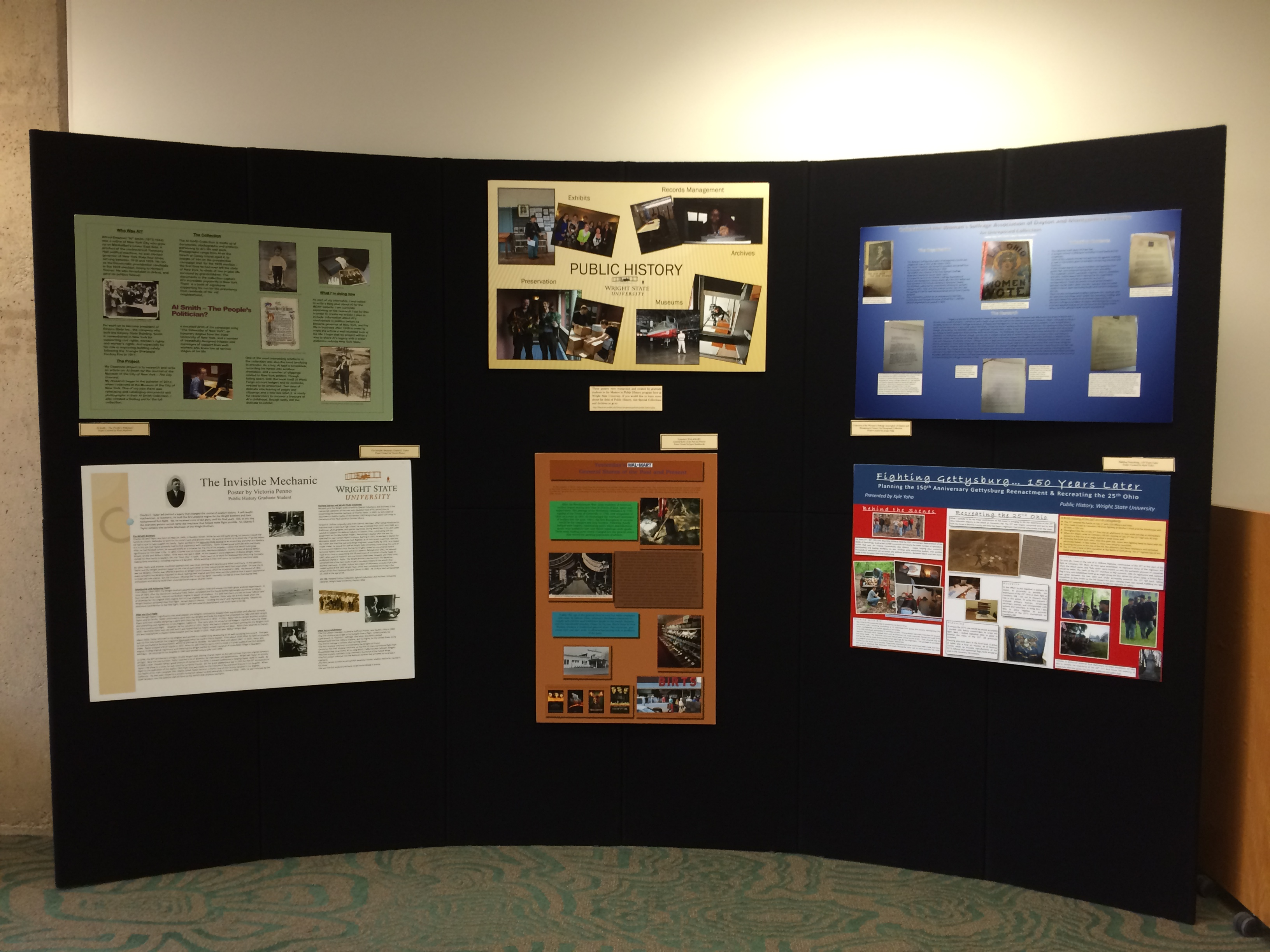 Public History Symposium posters on display on the 4th floor of Dunbar Library, April 2014