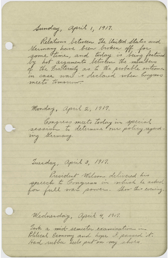Palmer B. Coombs' diary, April 1, 1917 (from MS-182)