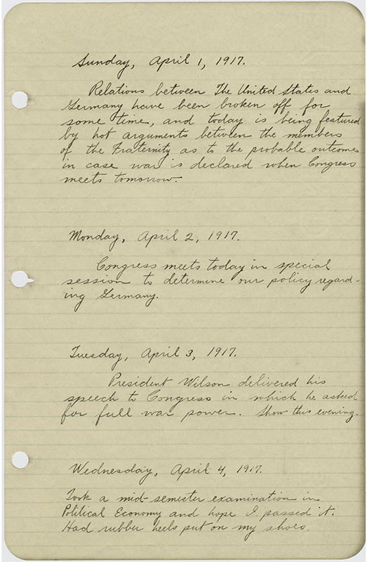 Palmer Coombs diary page, 1 April 1917, (item # MS182_11_01_001)