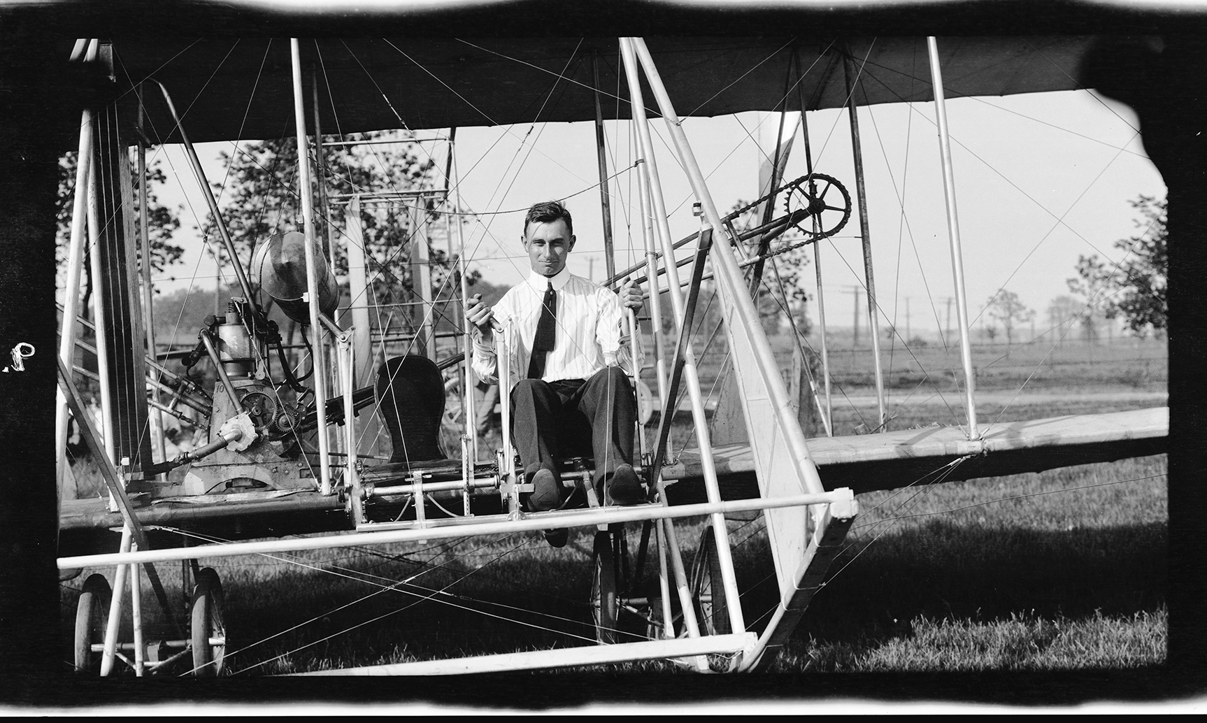 Harry Atwood at the controls of a Wright Model B Flyer, 1911 (from MS-355)