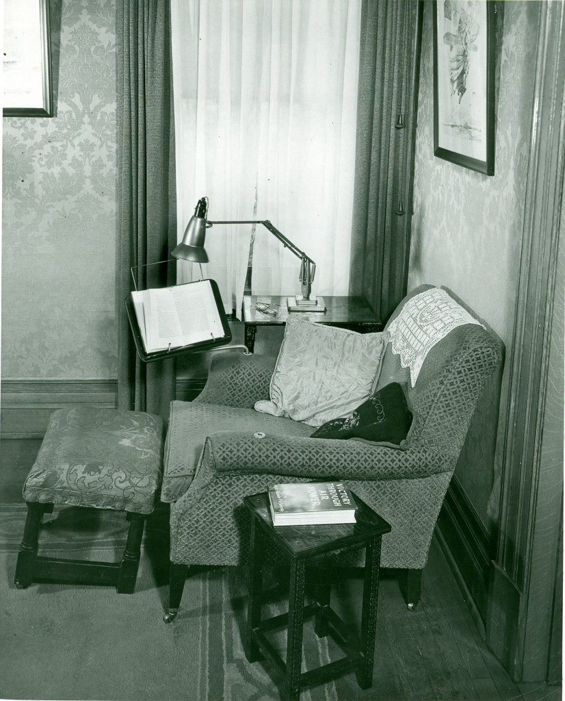 Hawthorn Hill, interior, Orville's specially modified armchair with reversible bookholder, undated (MS-458)