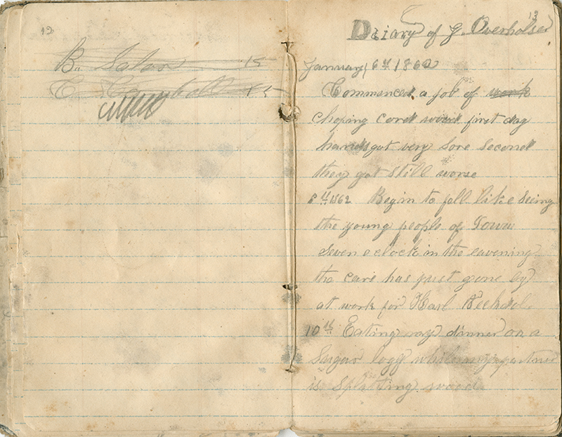 James F. Overholser diary page, 6 January 1862 (item # ms5_01_01_01_07)