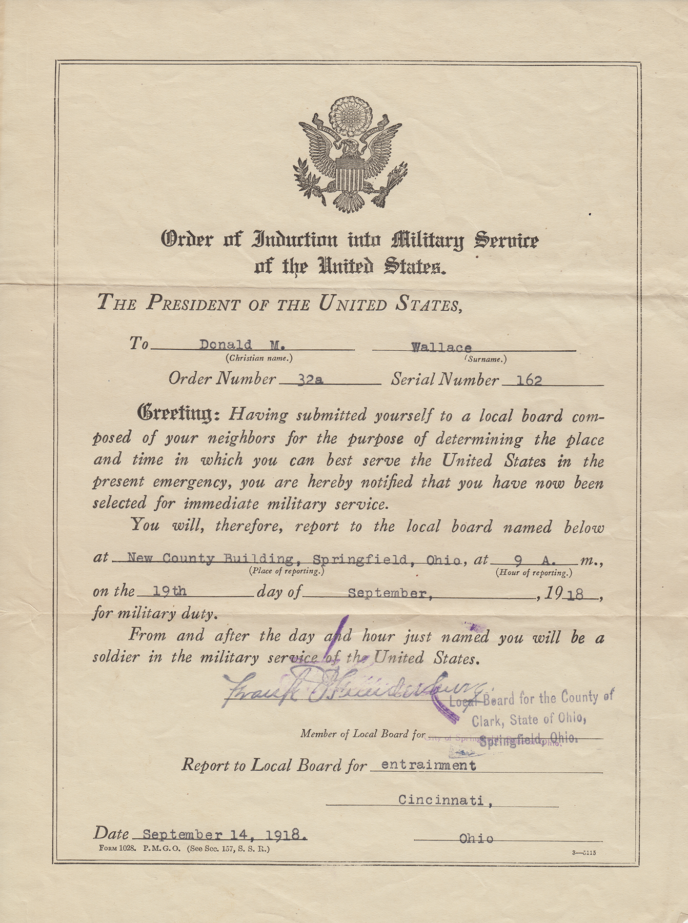 Donald M. Wallace draft letter, 1918 (from MS-92)