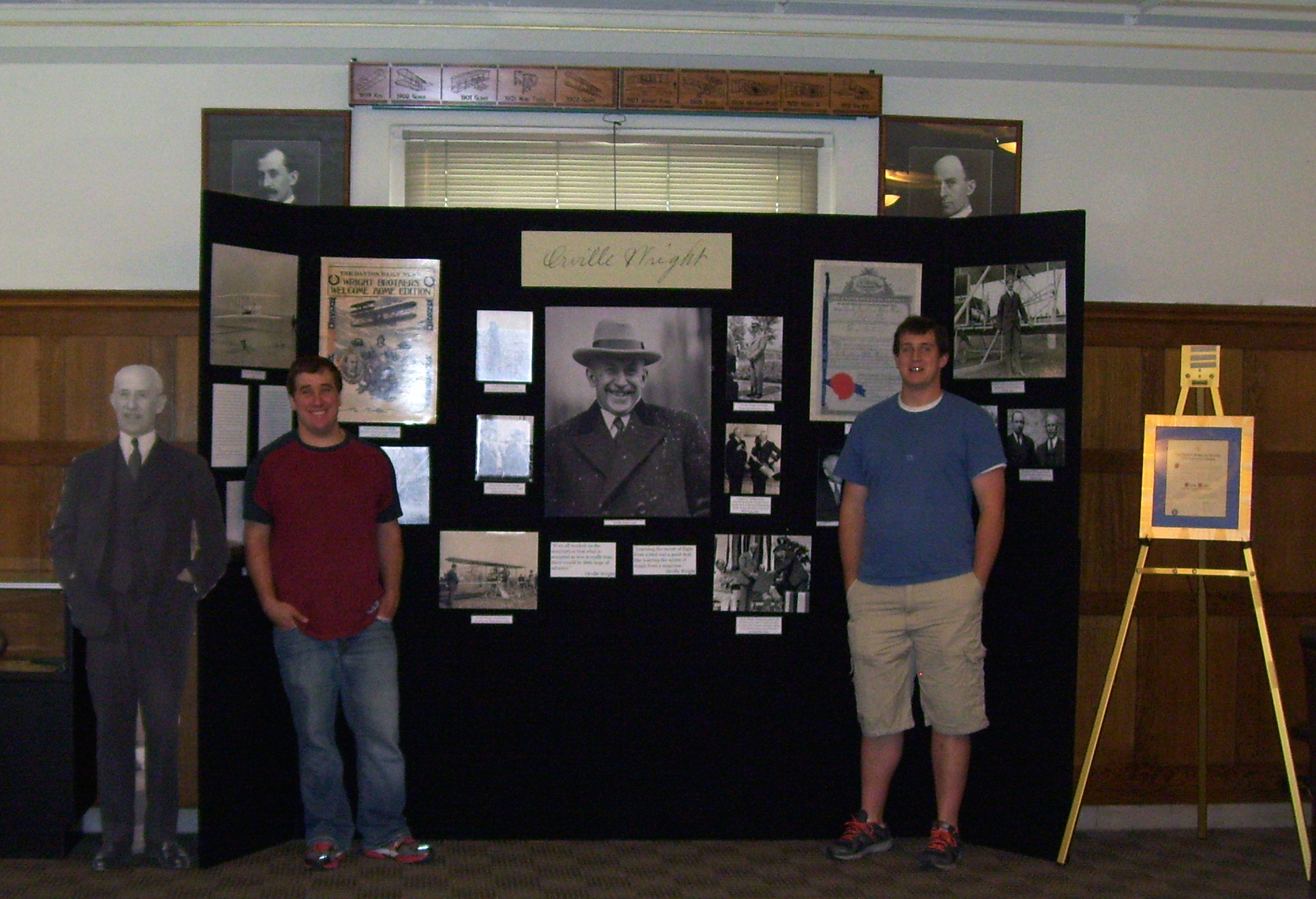 Adam (left) and Jordan with the Orville Wright portion of their exhibit