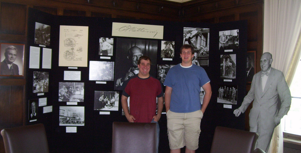 Adam (left) and Jordan with the Charles F. Kettering portion of their exhibit
