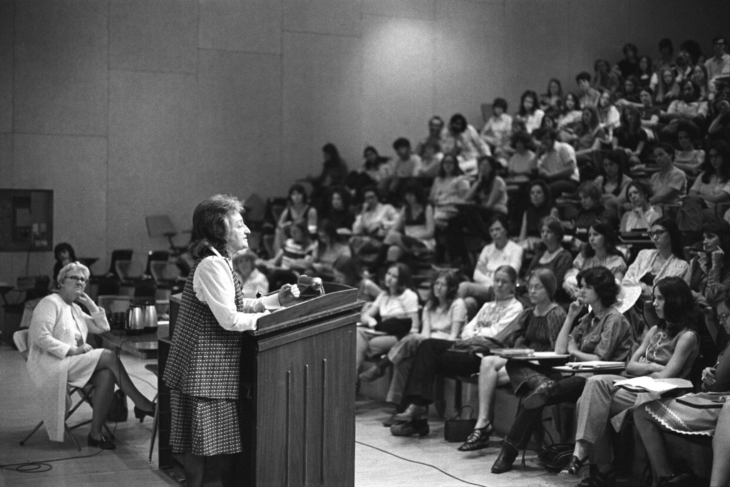 Betty Freidan speaks to WSU students in May, 1972.