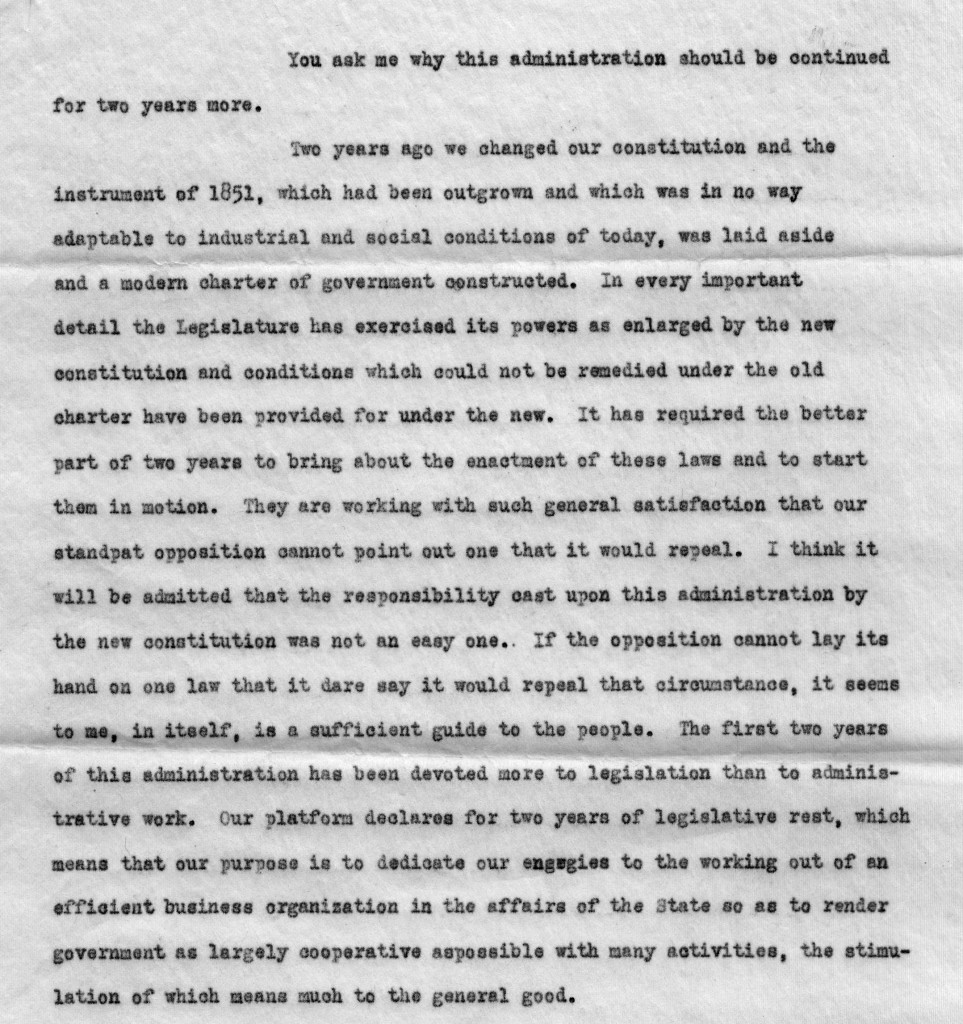 James M. Cox 1914 campaign excerpt (MS-2, Box 1, File 54)