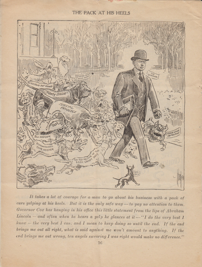 """The Pack at His Heels"" James Cox cartoon by Billy Ireland, 1914 (from MS-2, Box 5, File 4)"