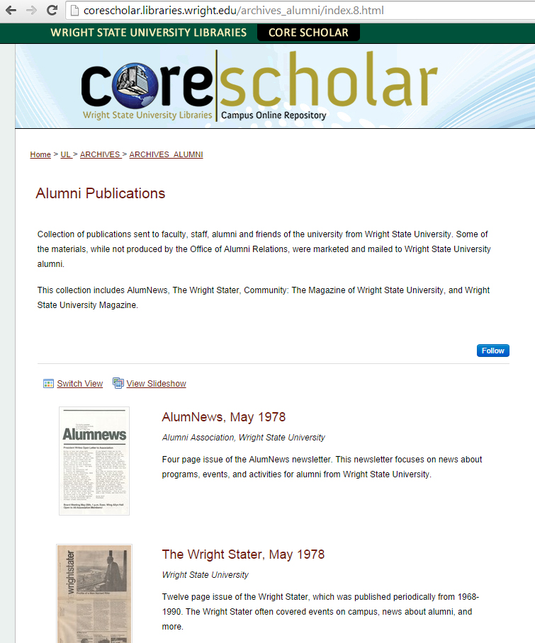 Alumni publications on CORE Scholar