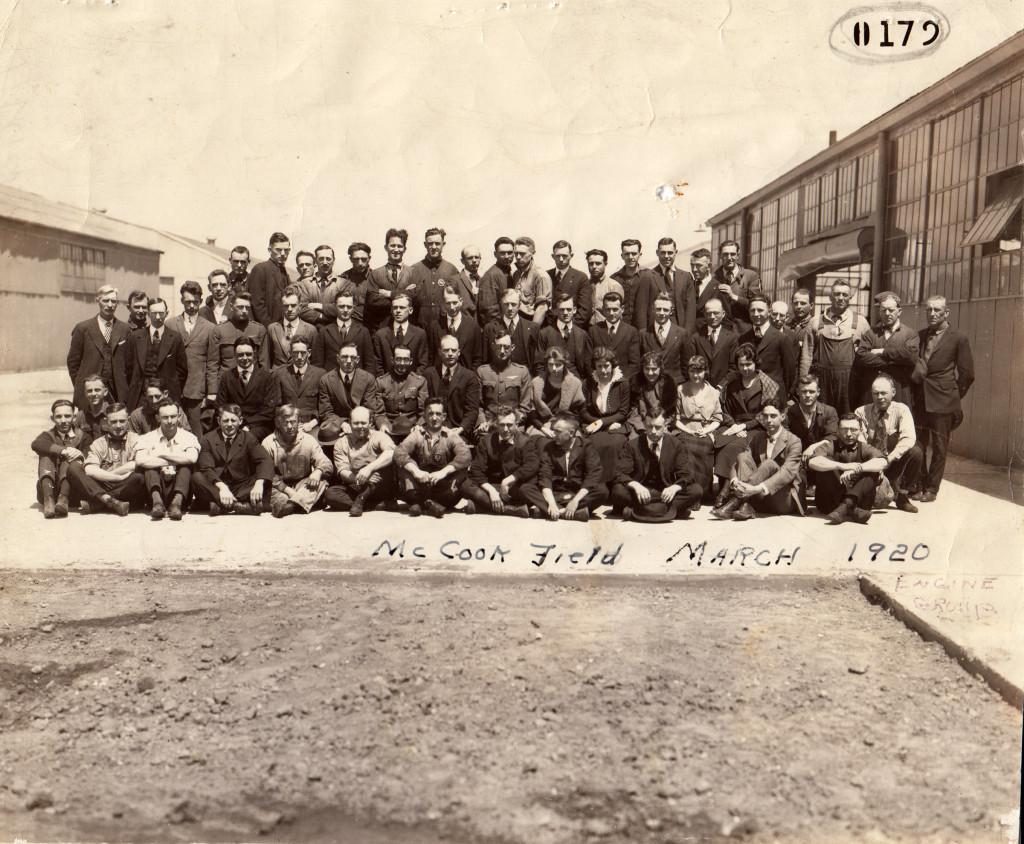 McCook Field, Engine Lab Personnel, 1919 or 1920. Major Hallett chief. Rose is crouched in second row on far right in white shirt and tie. (ms178_B1F2)