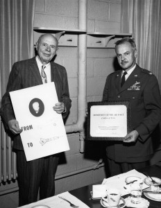 John J. Rose, left, at his retirement in 1962. (ms178_B1F2)