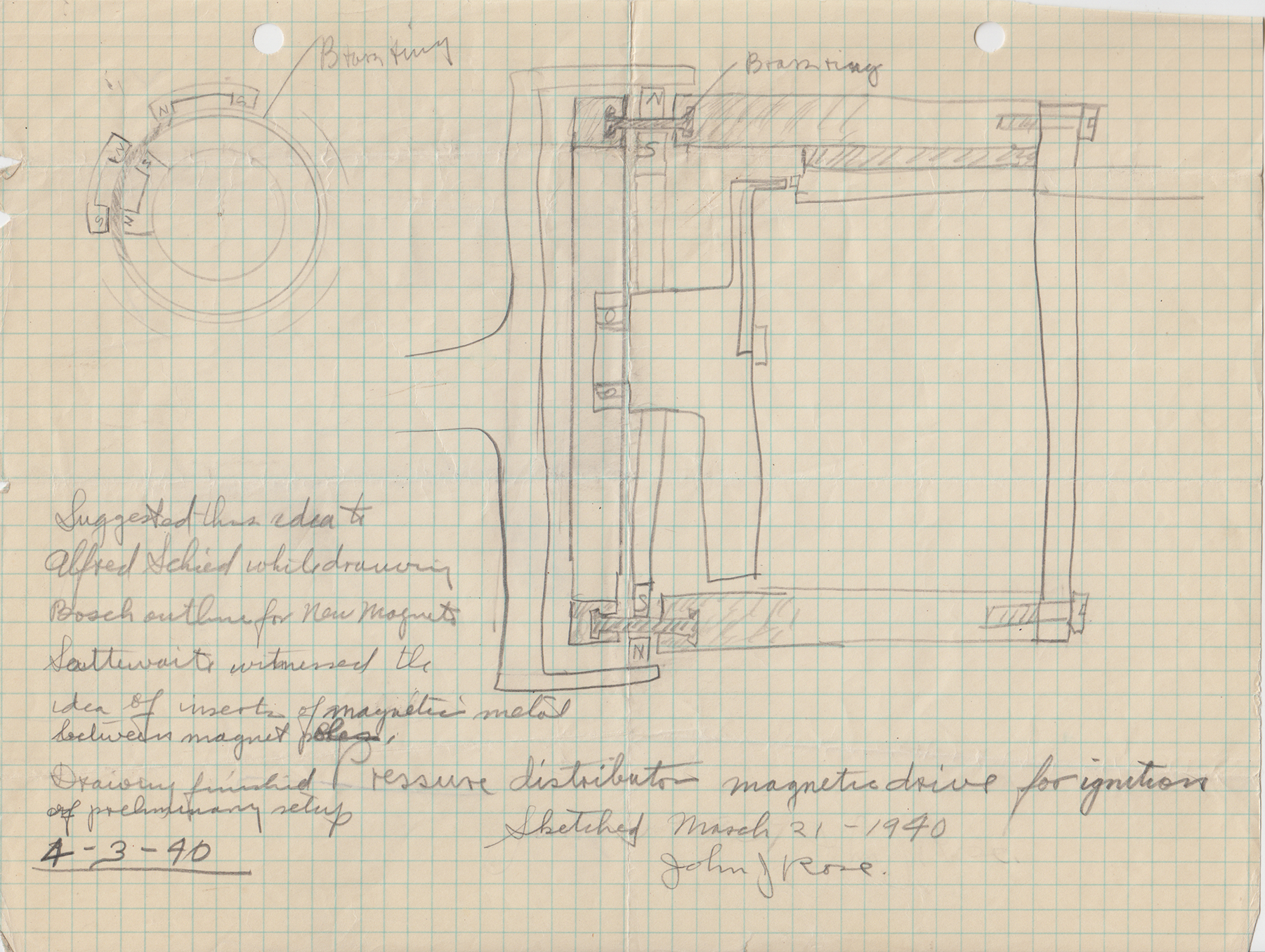 Sketch diagram showing ignition distributor improvements, 1940. (ms178_B2F12)