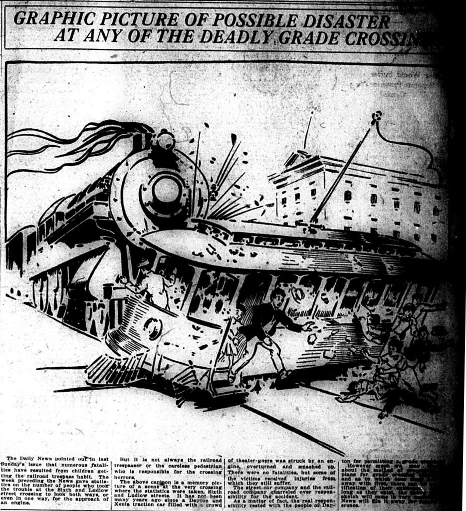 Political ad in favor of eliminating railroad grade crossings, Dayton Daily News, Nov. 1, 1914.