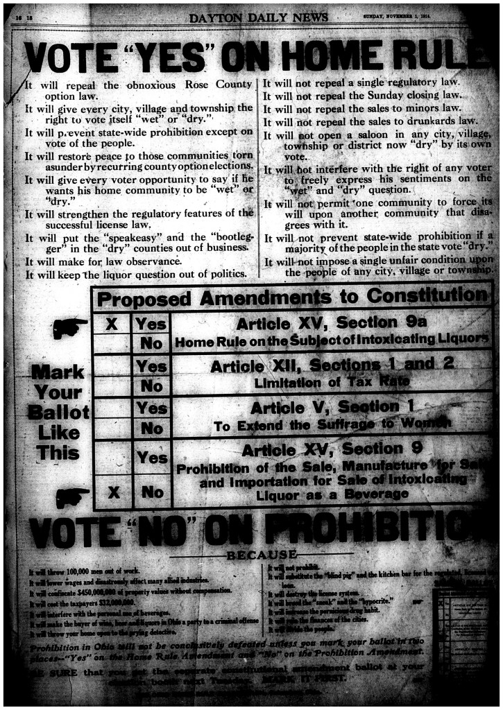 Political Ad: Vote Yes on Home Rule, Vote No on Prohibition. Dayton Daily News, Nov. 1, 1914.