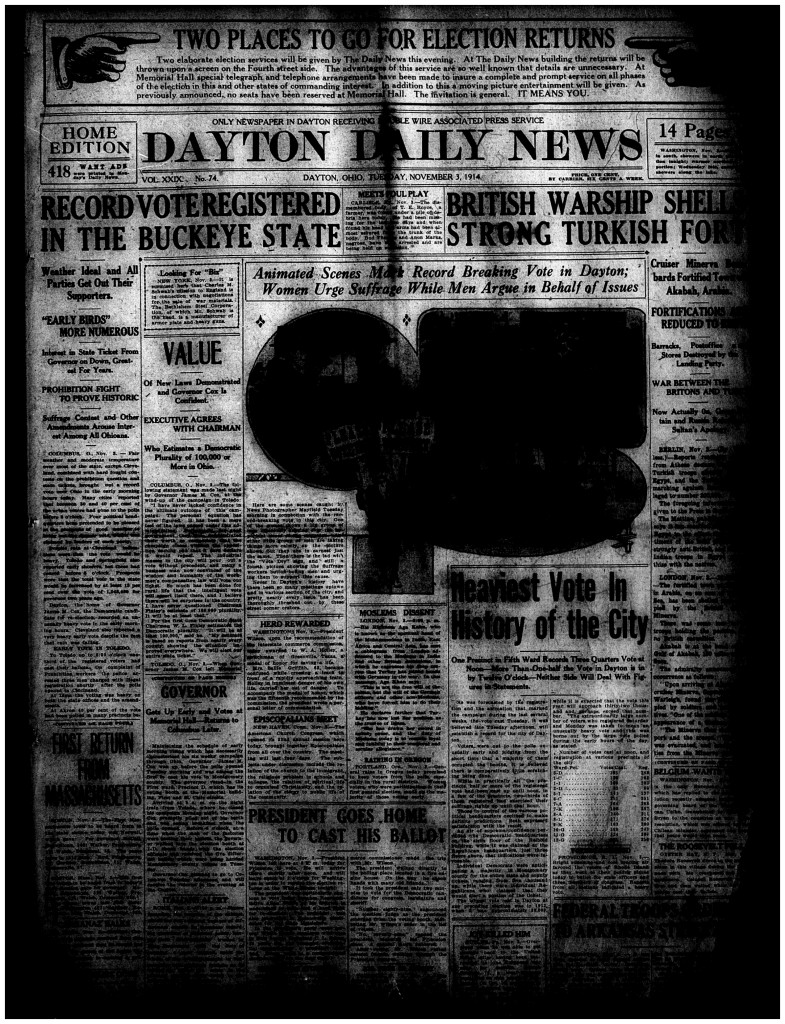 Dayton Daily News, Nov. 3, 1914, page 1 (cropped)