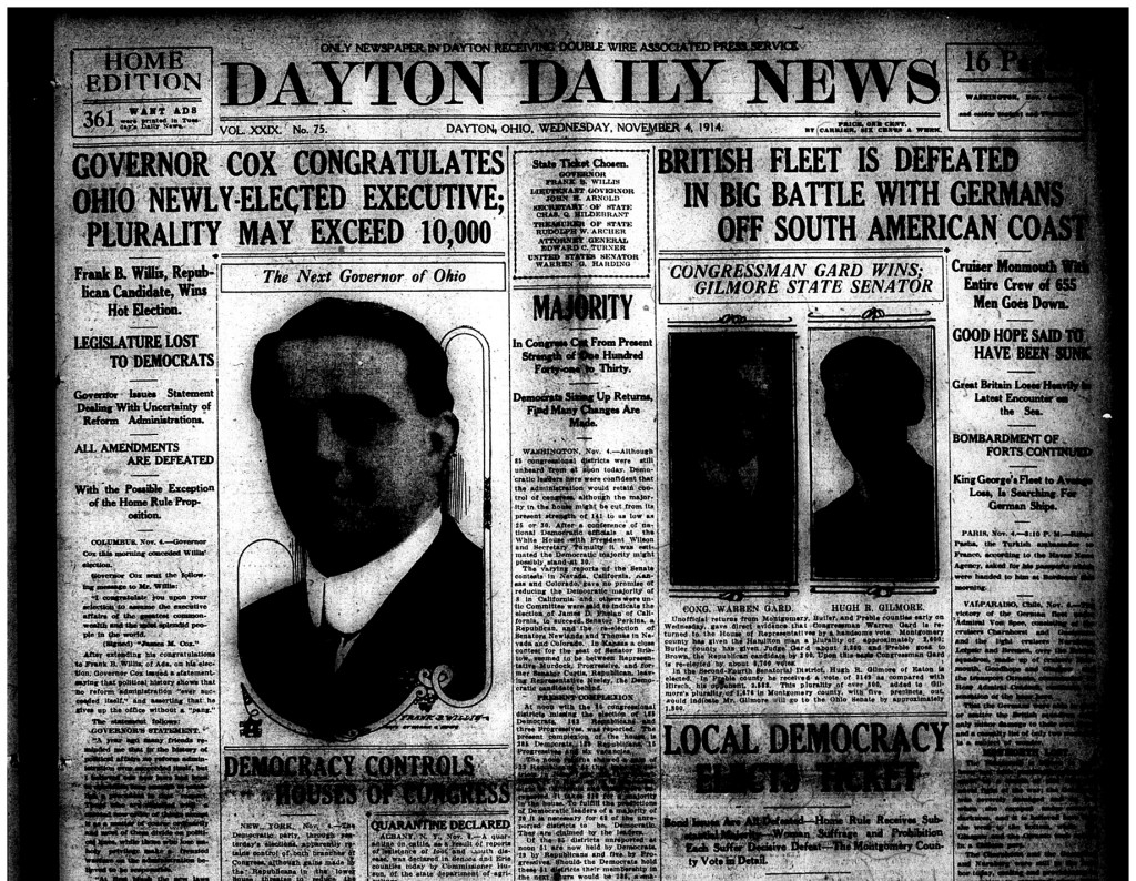 Dayton Daily News, Nov. 4, 1914, page 1 (cropped)