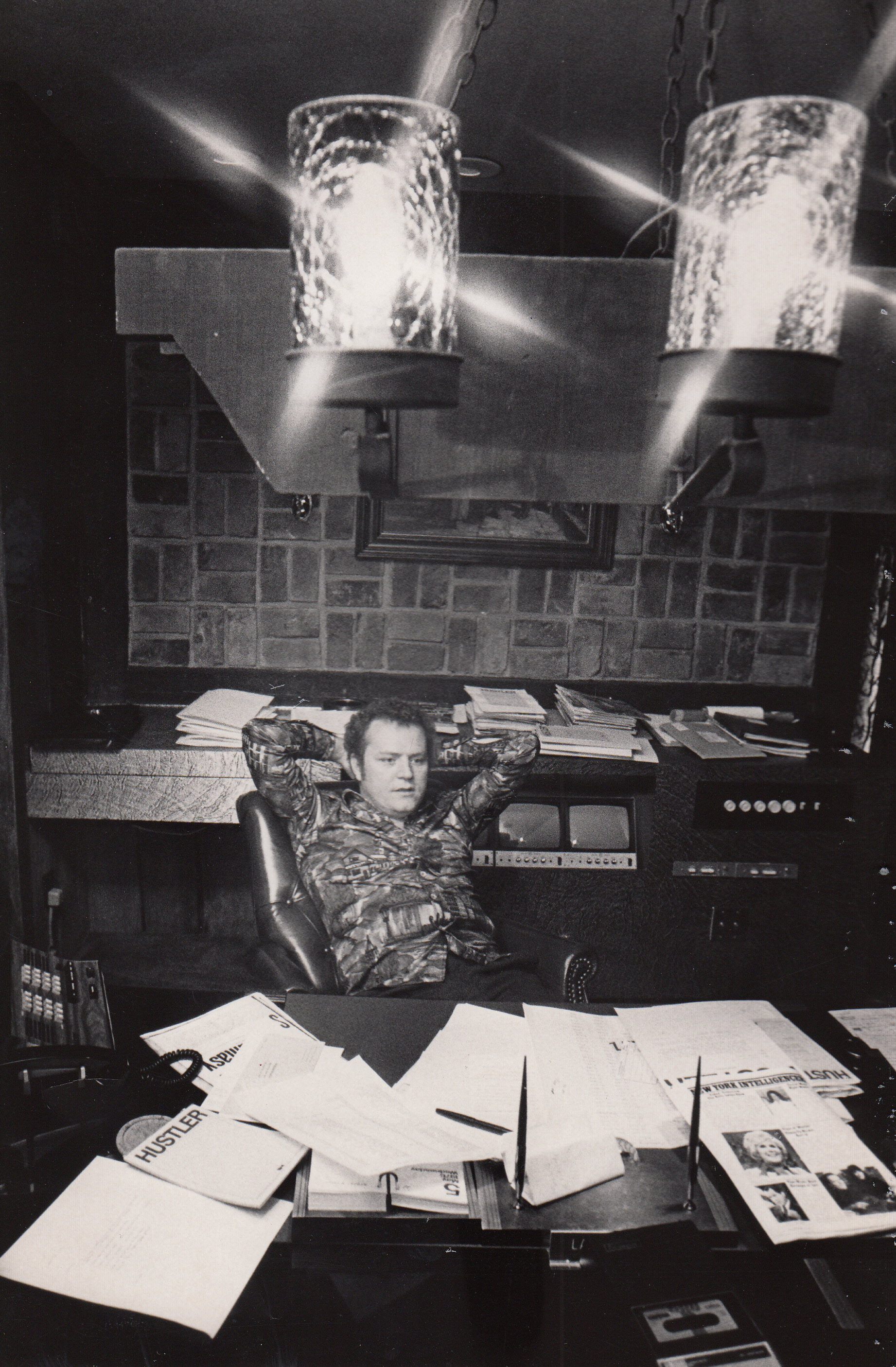 """Larry Flynt in his plush Columbus Office, June 1976."" Photo by Peterson"